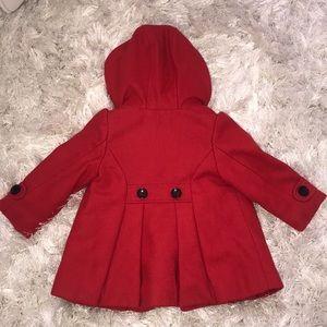 Kids wool like hooded, ruffle back, pea coat